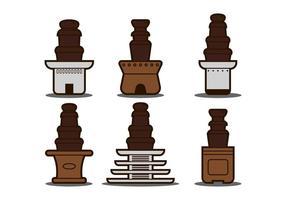 Insieme dell'illustrazione della fontana del cioccolato