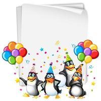 modello di carta da festa con pinguini vettore