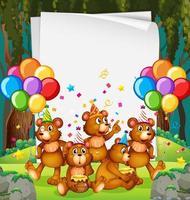 modello di cornice di carta festa con orsacchiotti vettore