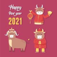 set di icone del nuovo anno cinese del bue