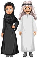 coppia araba adulta che indossa abiti arabi vettore