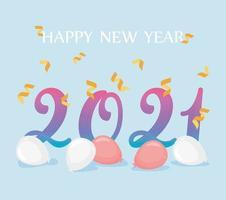 2021, felice anno nuovo composizione vettore