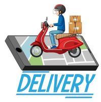 banner di consegna con uomo su scooter