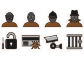 Set of Theft Icon Vettori