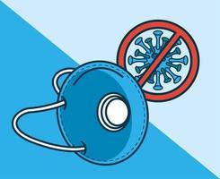protezione mascherina medica blu con segnale stop covid19