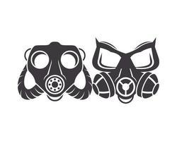 paio di icone di maschere antigas di biosicurezza