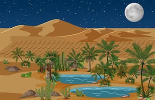 oasi nel deserto con palme e cactus natura paesaggio vettore