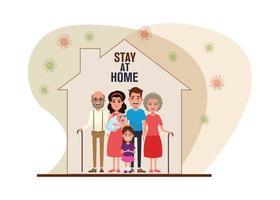 i membri della famiglia rimangono a casa, covid19 particelle pandemiche vettore