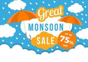 Grande vettore del modello del manifesto di vendita di monsone libero