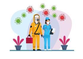 persona addetta alle pulizie a rischio biologico con infermiera e particelle covid19 vettore