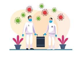 persone che puliscono a rischio biologico con particelle covid19
