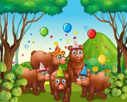 orso gruppo nel personaggio dei cartoni animati a tema di festa vettore
