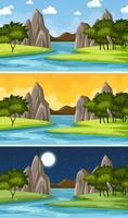 scena del paesaggio naturale in diversi momenti della giornata
