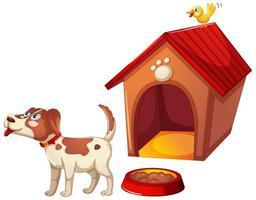 un simpatico cane con la sua casa su sfondo bianco