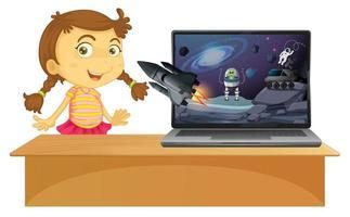 scena spaziale sullo sfondo del computer vettore