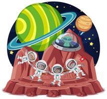 tema spaziale con astronauti e alieni in ufo