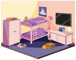 camera da letto in tema di colore rosa e viola