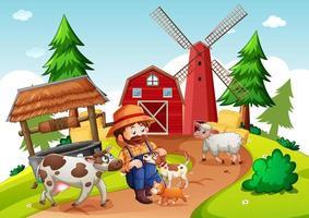 contadino con fattoria degli animali nella scena della fattoria vettore