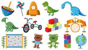 set di giocattoli per bambini su bianco vettore