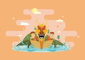 Divertente Dragon Boat Race Illustration vettore