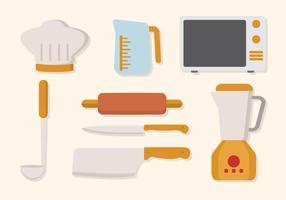 Vettore di utensili da cucina piatto