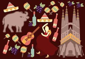Vettori di viaggi e cultura in Spagna