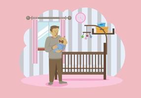 Padre paziente che trasporta la sua illustrazione del bambino vettore