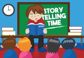 La storia dei bambini che racconta l'illustrazione vettore