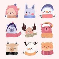 set di simpatici personaggi dei cartoni animati di Natale