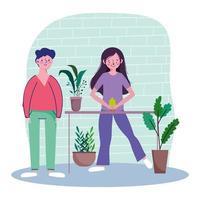 coppia che si prende cura delle piante d'appartamento in quarantena vettore