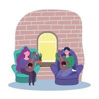 giovani donne a suonare la chitarra a casa vettore