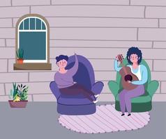 giovani che suonano musica a casa vettore
