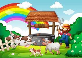 contadino con fattoria degli animali nella scena della fattoria
