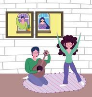 giovane coppia che suona musica a casa vettore