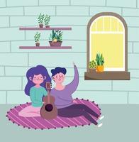 giovane coppia a casa vettore