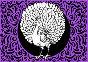Disegno ornato di uccelli pavone vettore