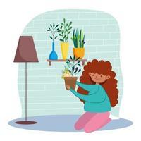 ragazza che si prende cura delle piante d'appartamento in quarantena vettore
