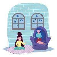ragazze a casa in quarantena vettore