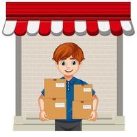 pacchetto di consegna uomo su sfondo bianco vettore