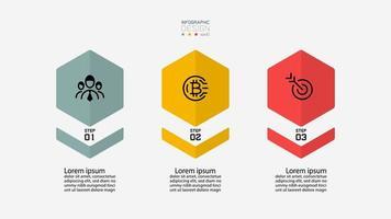 set di icone infografica di forma esagonale