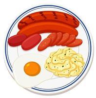 vista aerea del cibo gustoso sulla piastra vettore