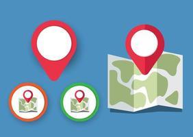 icone della mappa con puntatore vettore