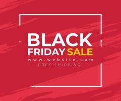 banner rosso con splash per la vendita del venerdì nero