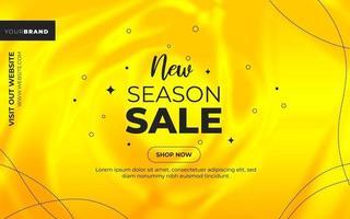 banner di vendita di nuova stagione su gradiente giallo