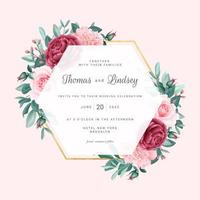 cornice di nozze geometriche floreali rosa