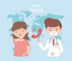 paziente con sintomi covid-19 vettore