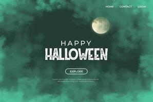 nuvole verdi e bandiera della luna per haloween