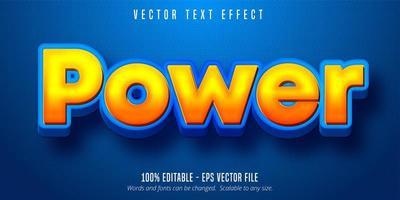 effetto di testo modificabile in stile cartone animato di potere sfumato arancione vettore