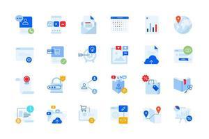progettazione e sviluppo di app, icone moderne di affari vettore