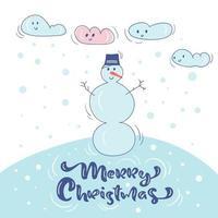 pupazzo di neve in cappello con neve e nuvole disegno di natale